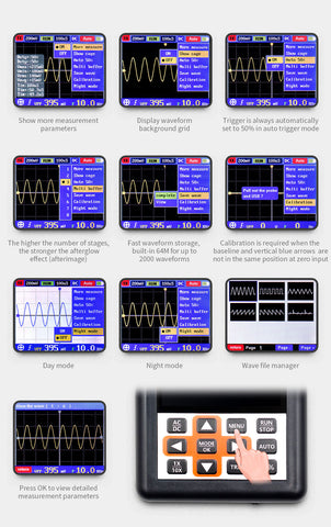 DSO Handheld mini portable digital oscilloscope 30M bandwidth 200Mbps sampling rate