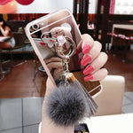 Luxury Fur Ball Tassels Mirror Cover Bear Finger Ring Soft For Cover For all Samsung And iPhones
