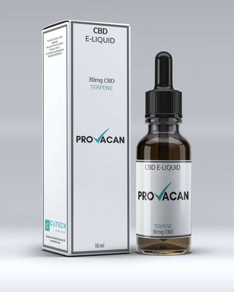 PROVACAN CBD eLIQUID for Vapes. 30mg TERPENES - Provacan by CiiTECH.  Official CBD Oil Shop. Cannabis Oil, eLiquid, Balm, Capsules