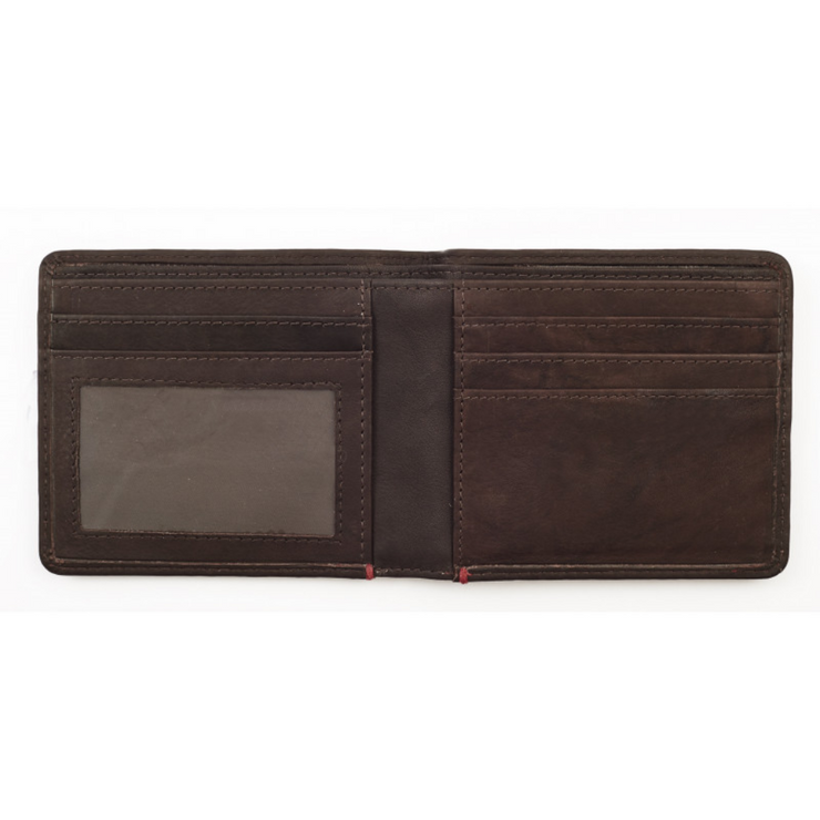 Leather Bi-Fold Wallet 11 x 10 x 1cm - booley