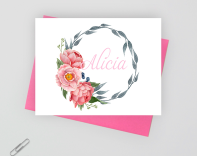Floral folded note card set for women