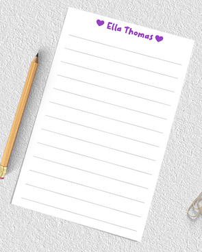 personalized lined notepad for girls