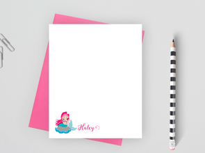 Personalized Mermaid Stationery For Girls, Mermaid Note Cards