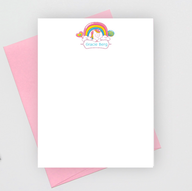 unicorn stationery note cards for girls