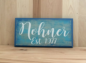 Calligraphy family established wooden sign.