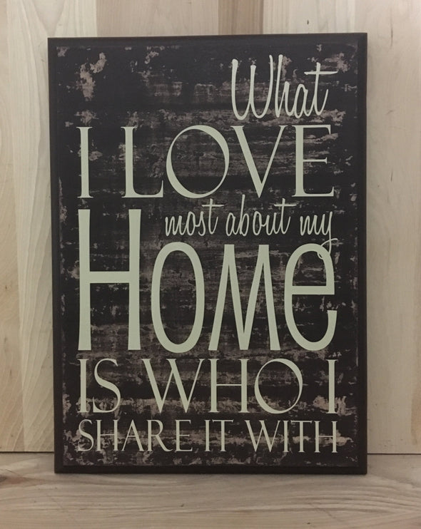 What I love most about my home is who I share it with wood sign.