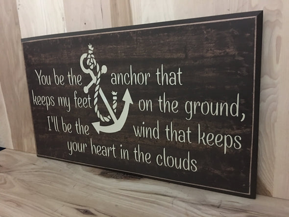 Anchor Wood Sign, Wedding Gift, Anniversary Gift