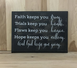 Faith wood sign scripture
