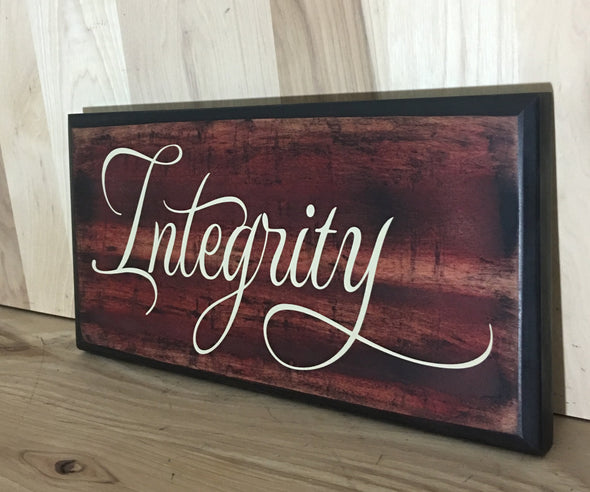 Custom integrity wood sign with flourish,