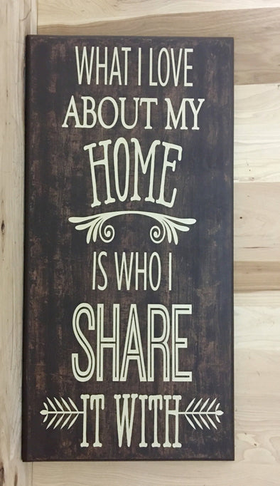 What I love about my home is who I share it with wood sign.