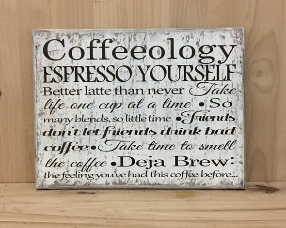 Coffeeology wooden sign for kitchen decor.