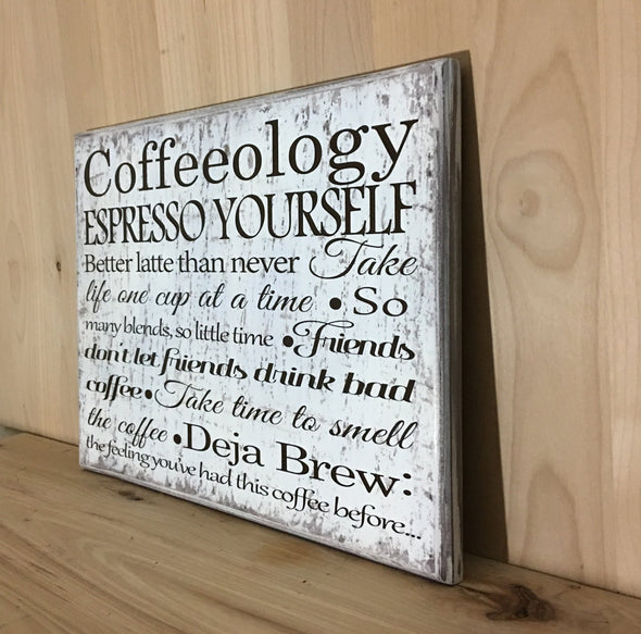 Custom coffee sign for decor in the kitchen.