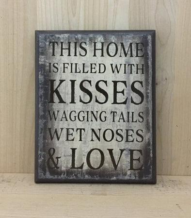Wagging tails dog wood sign