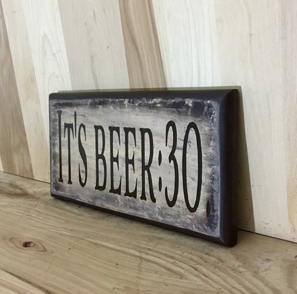 Funny wooden beer sign for wall decor.
