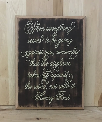 Henry Ford quote wood sign