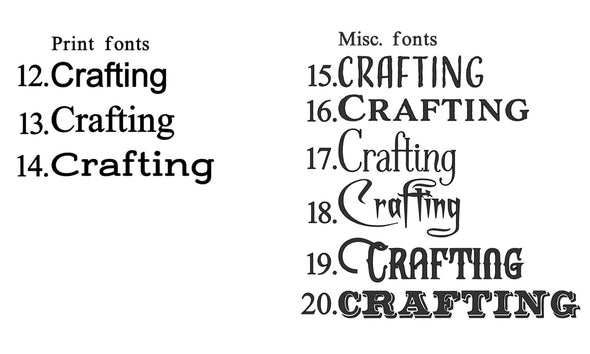 9 font choices