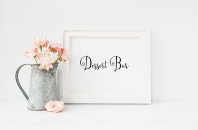Dessert bar sign for wedding decorations.