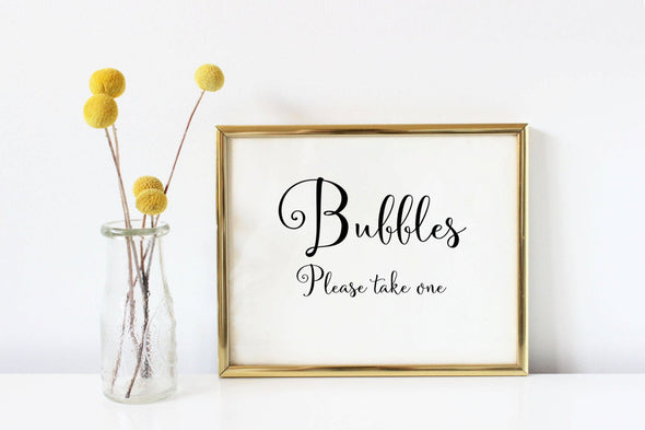 Bubbles favor sign for wedding table.