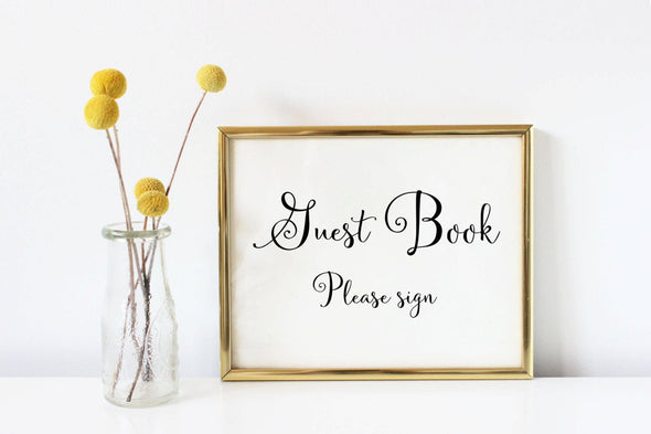 Guest book please sign art print for wedding decor.