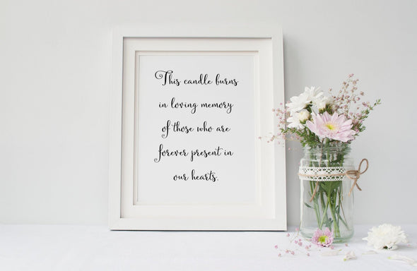 This candle burns in loving memory wedding memorial sign download.