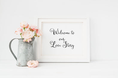 Welcome to our love story wedding art print.