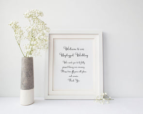 Unplugged wedding art print for wedding decor.