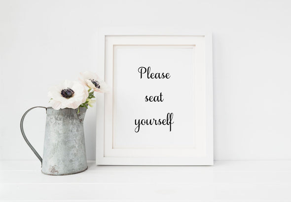 please seat yourself script art print for bathroom