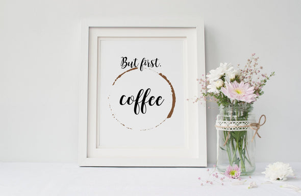 Fun coffee sign with cup stain.