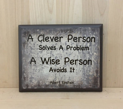 A clever person solves a problem Einstein quote wood sign.