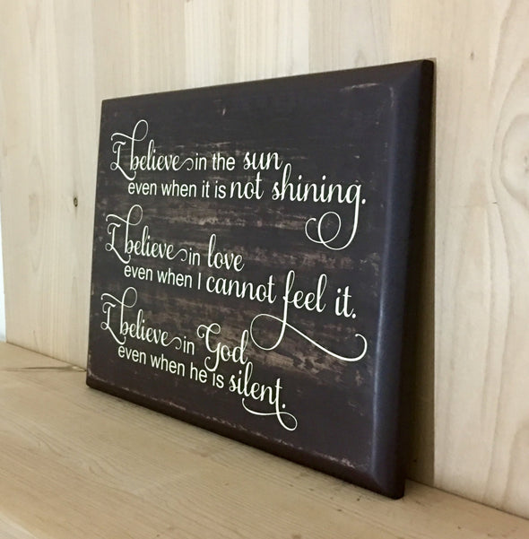 Religious custom wooden sign for home decor.