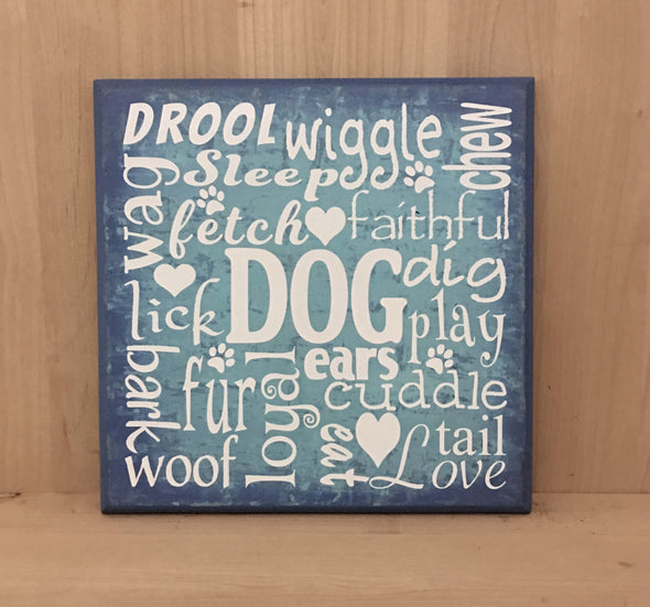 Dog subway art wood sign for home decor.