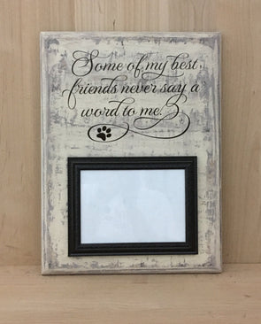 Dog sign with picture frame