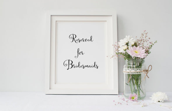 Reserved for bridesmaids sign for wedding decor download.