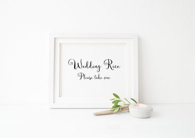 Wedding rice please take one wedding sign.