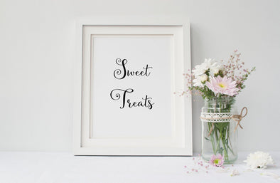 Sweet treats art print for wedding decor.