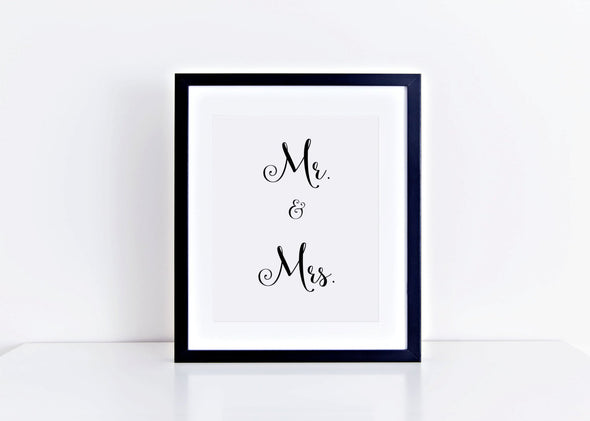 Mr. & Mrs. wedding art print for wedding decor.