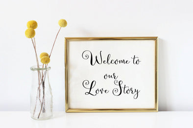 Welcome to our love story wedding art print in your choice of ink color.