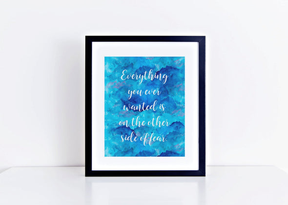 Overcoming fear with blue background digital downlaod art print.