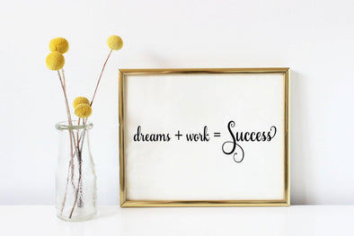 Dreams+work=success motivational art print for home, office or classroom decor.