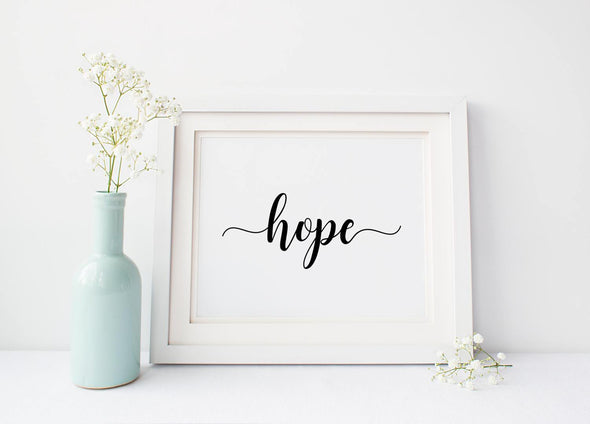 Hope wall art print in your choice of ink colors.