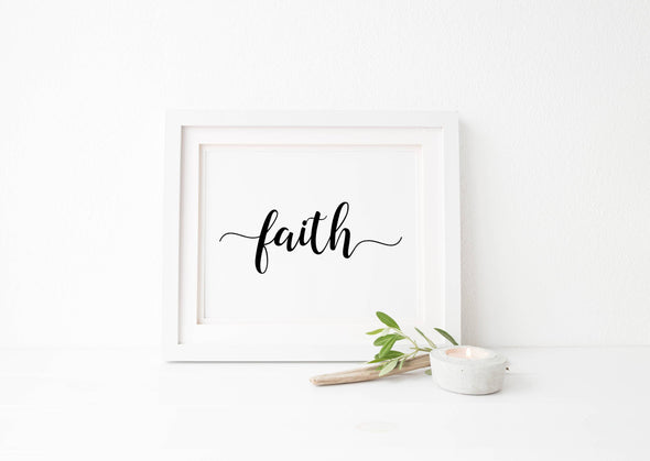 Faith religious calligraphy wall art print download.