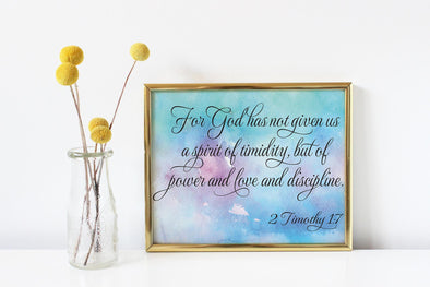 Colorful background with 2 Timothy bible verse