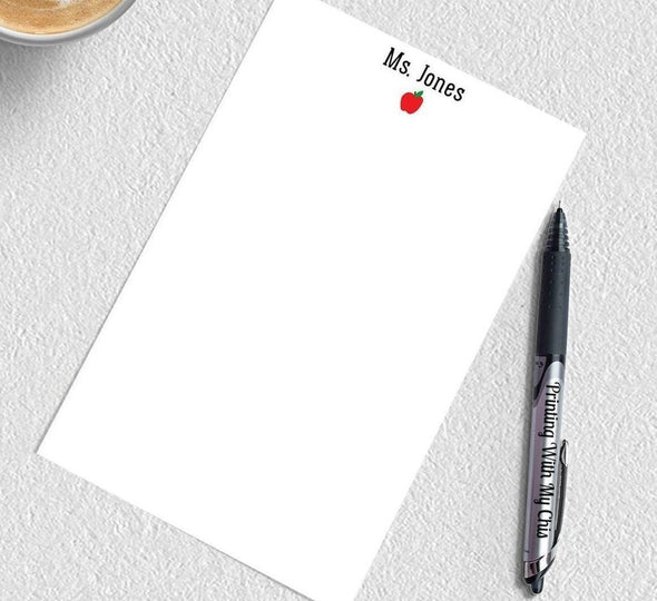 Teacher personalized apple notepads for great teacher gifts.