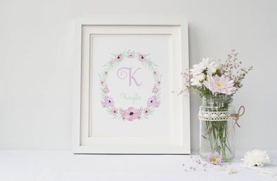 Personalized floral art print for little girl's bedroom decor.