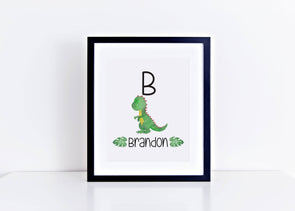Personalized dinosaur wall art decor for little boy's room.