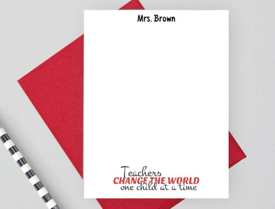 Teachers change the world one child at a time personalized note cards.