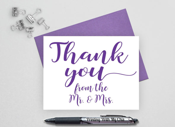 Wedding thank you cards from the Mr. and Mrs.