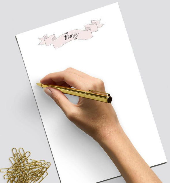 Banner design personalized notepad.