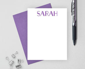 Print personalized stationery with purple ink and purple envelope.