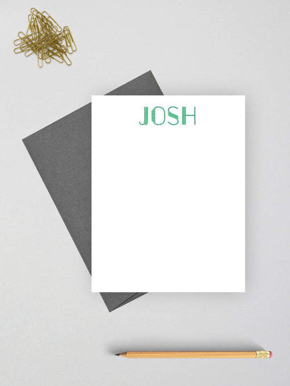 Print personalized stationery for men or women.